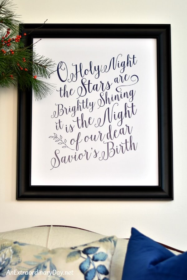 Free Printable Scripture Verses and Christmas Songs Make Fabulous Christmas Wall Decorations for Small Spaces and Apartments at Christmas