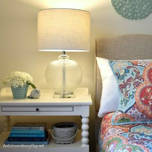 White Bedside Table & Clear Glass Lamp - Summer Bedroom Decor - AnExtraordinaryDay.net